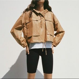 NEW Zara Limited Edition Nude Faux Leather Jacket